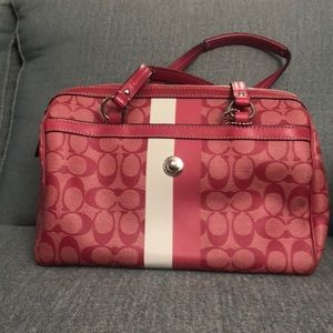 Coach pink/white bowler purse GREAT CONDITION